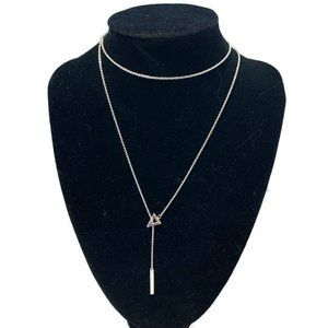 NWT Stella and Dot triangle lariat necklace